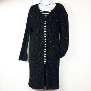 Long Black Ribbed Sweater/ Cardigan